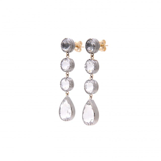 Earrings Circles Rock Crystal in Silver and Gold