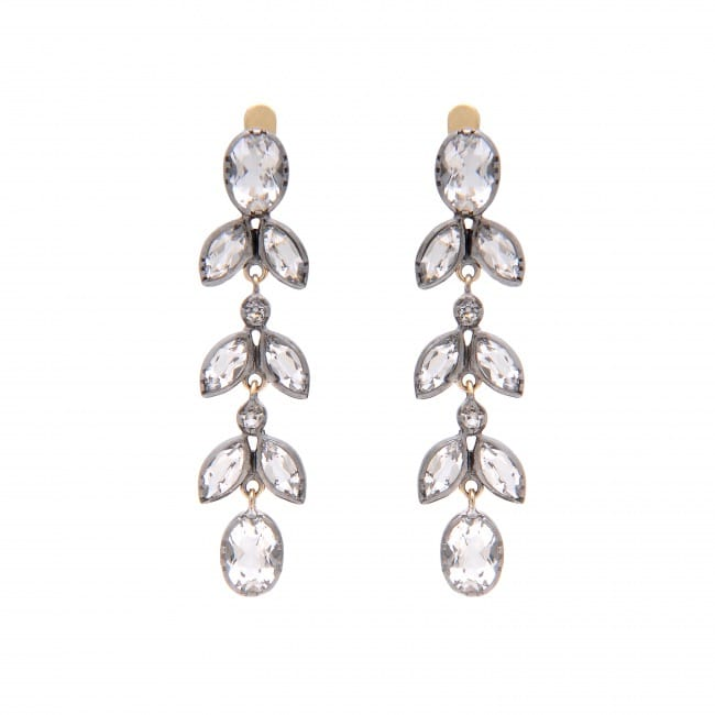 Earrings Rock Crystal 4,4 cm in Silver and Gold