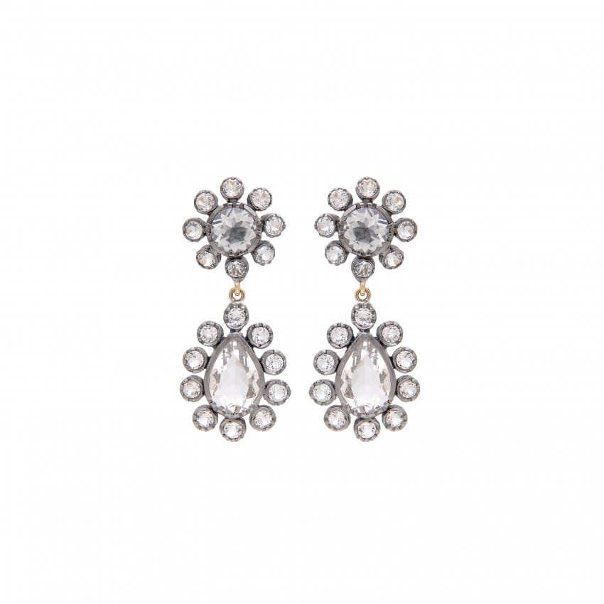 Earrings Ciclo Rock Crystal in Silver and Gold