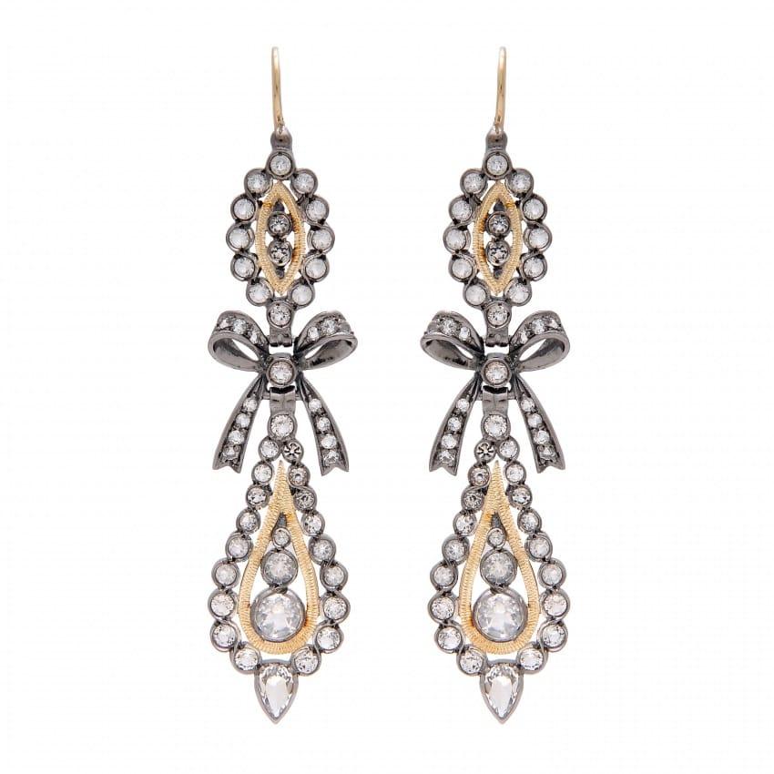 Brincos Rei Cristal de Rocha 7,0 cm em Prata e Ouro
