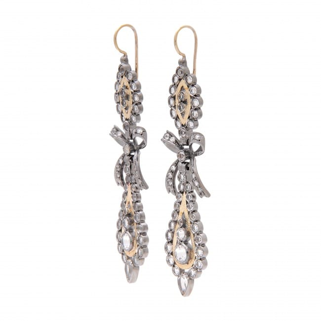 King Earrings Rock Crystal 7,0 cm in Silver and Gold