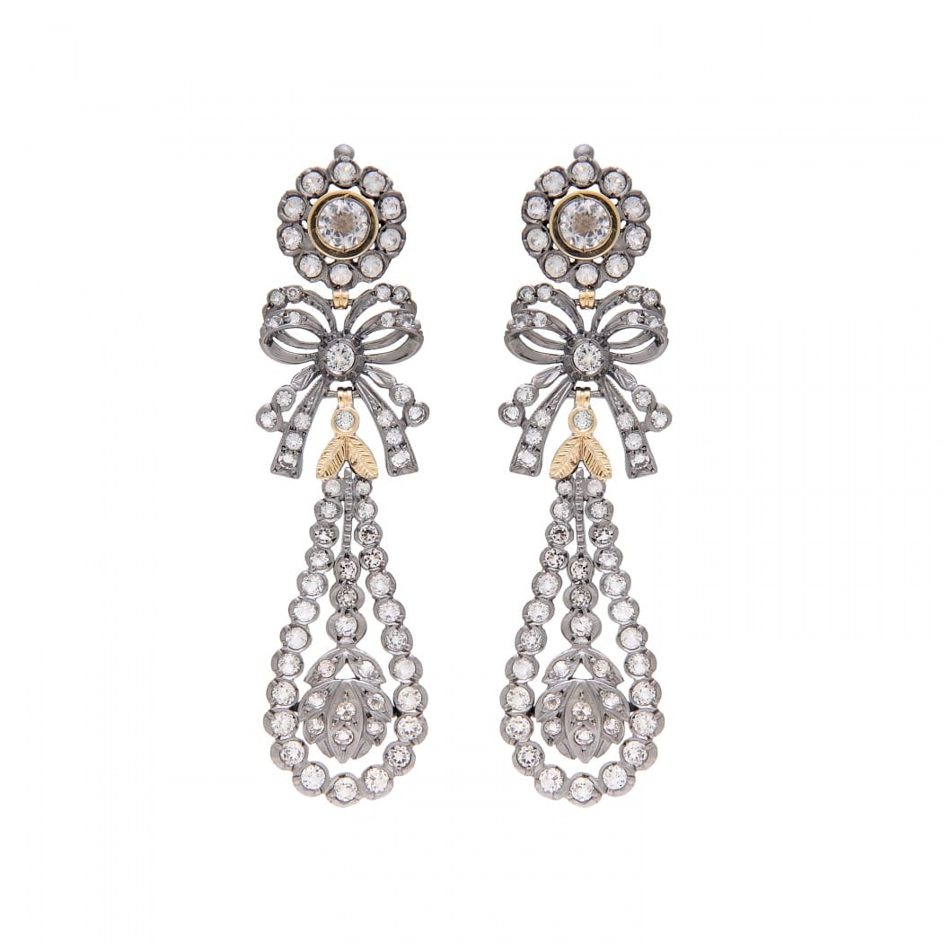 King Earrings Rock Crystal in Silver and Gold