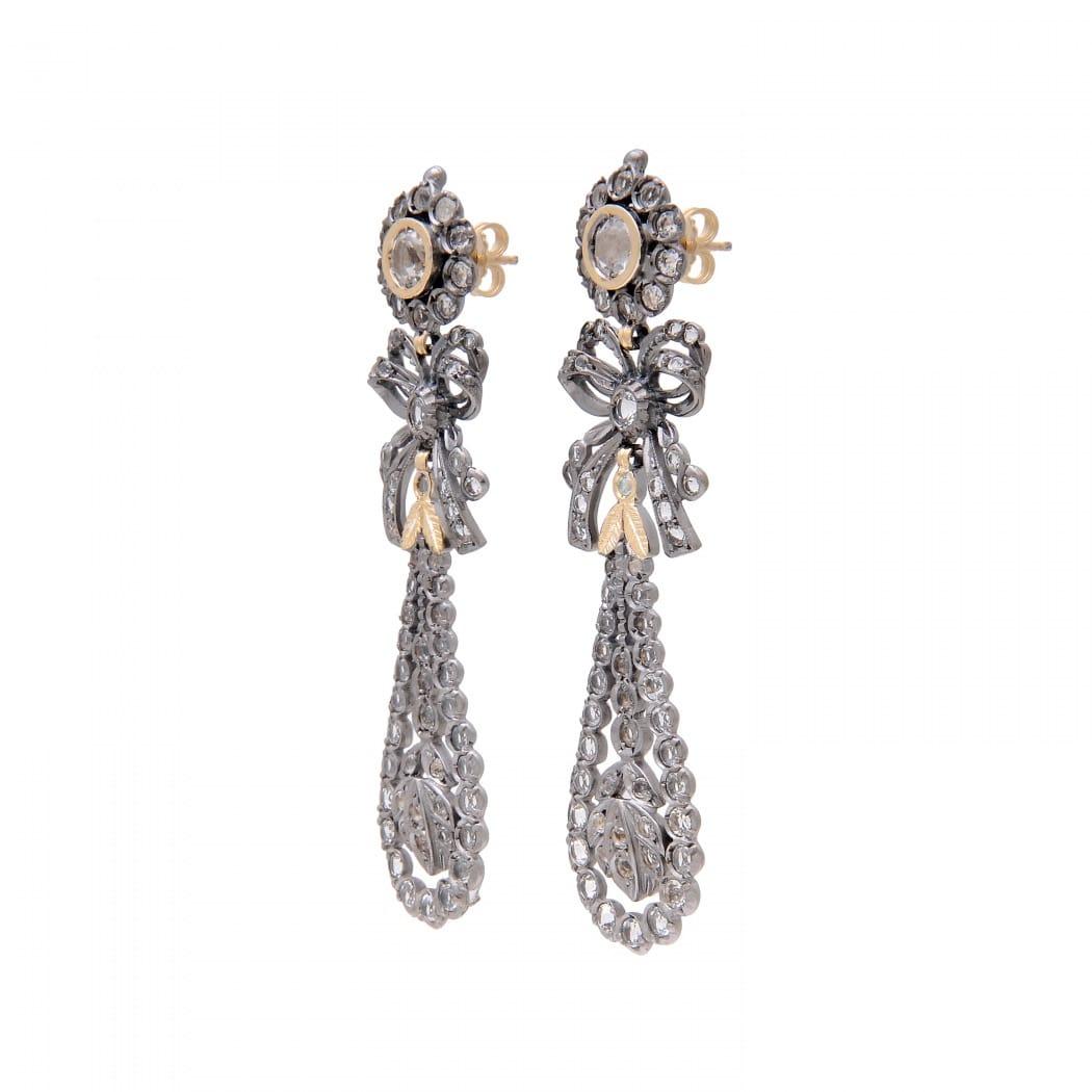 Brincos Rei Cristal de Rocha em Prata e Ouro