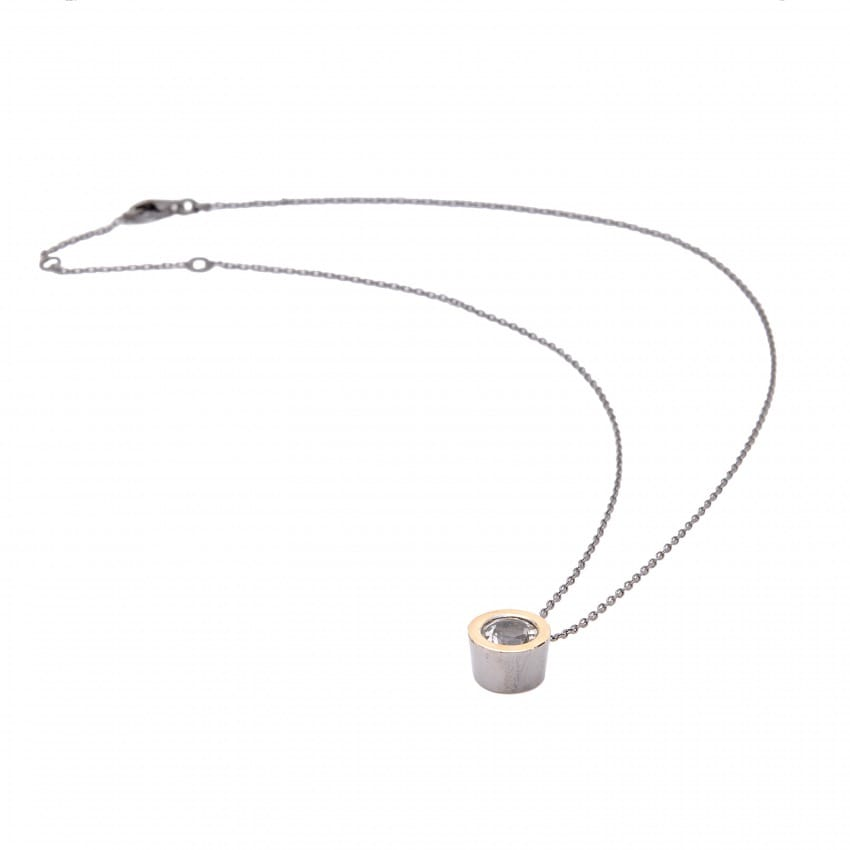 Necklace Rock Crystal Center in Silver and Gold