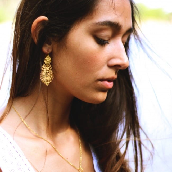 Queen Earrings 5,5cm in Gold Plated Silver