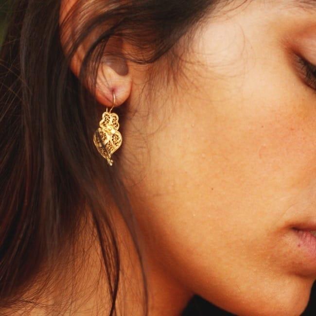 Brincos Coração de Viana 2,5cm em Prata Dourada