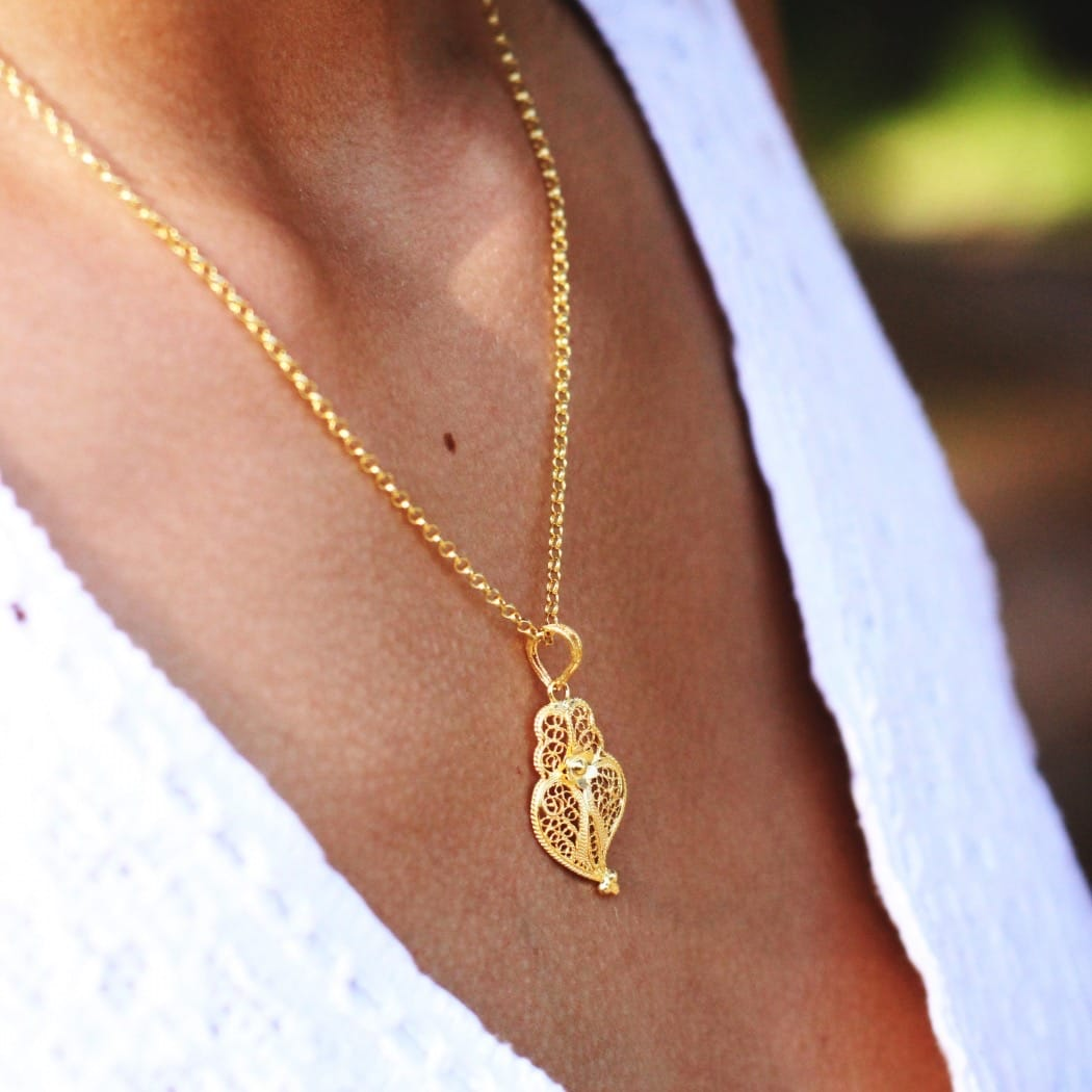 Necklace Heart of Viana 3,0cm in Gold Plated Silver