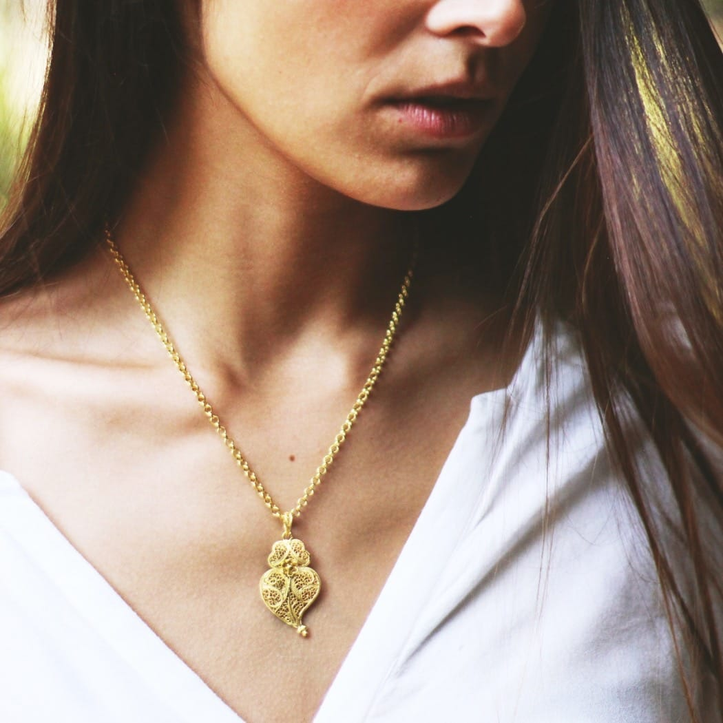 Necklace Heart of Viana 4,0 cm in Silver