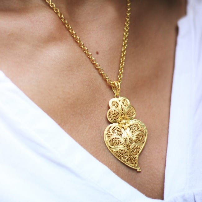 Necklace Heart of Viana 5,5cm in Gold Plated Silver