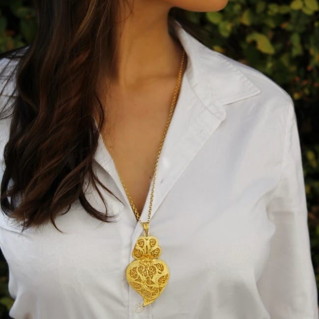 Necklace Heart of Viana 7,5 cm in Gold Plated Silver