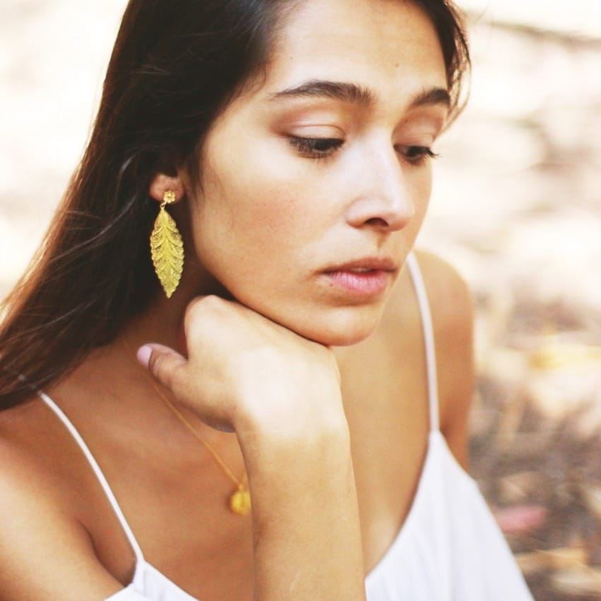Earrings Leaf in Silver