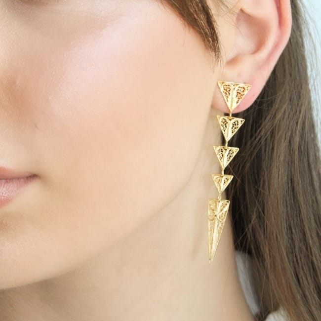 Earrings Triangles in Gold Plated Silver