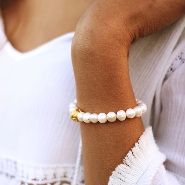Bracelet Conta in Silver and Pearls