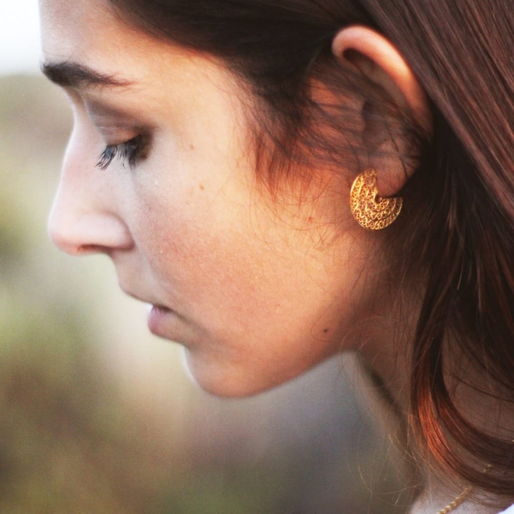 Earrings 3/4 Circles in Gold Plated Silver