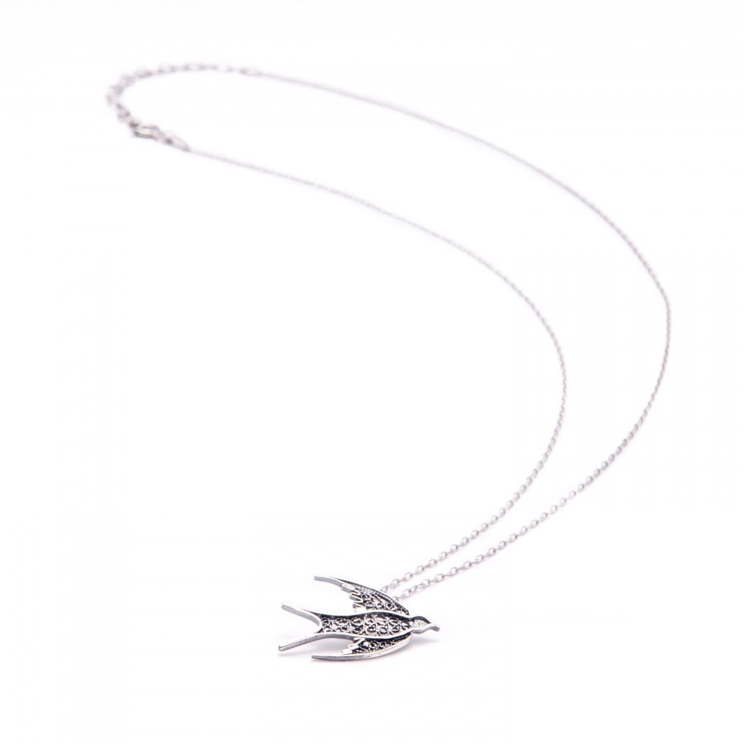 Necklace Swallow in Silver