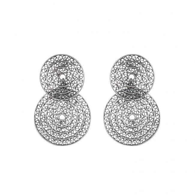 Brincos Dois Círculos em Prata