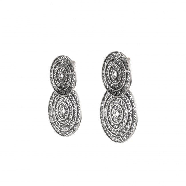 Brincos Dois Círculos 4,2 cm em Prata