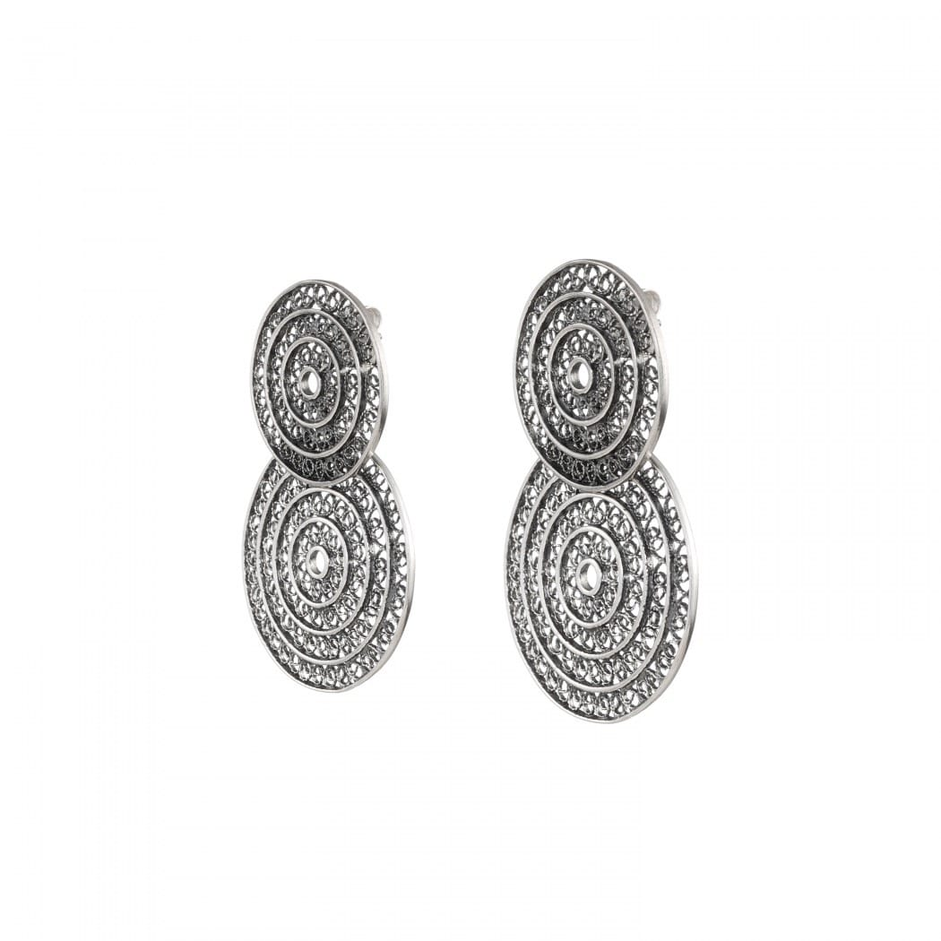 Earrings Two Circles in Silver