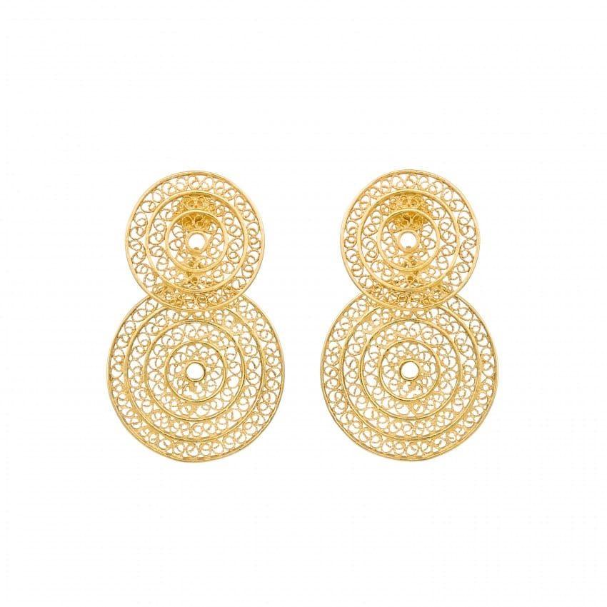 Brincos Dois Círculos 4,2 cm em Prata Dourada