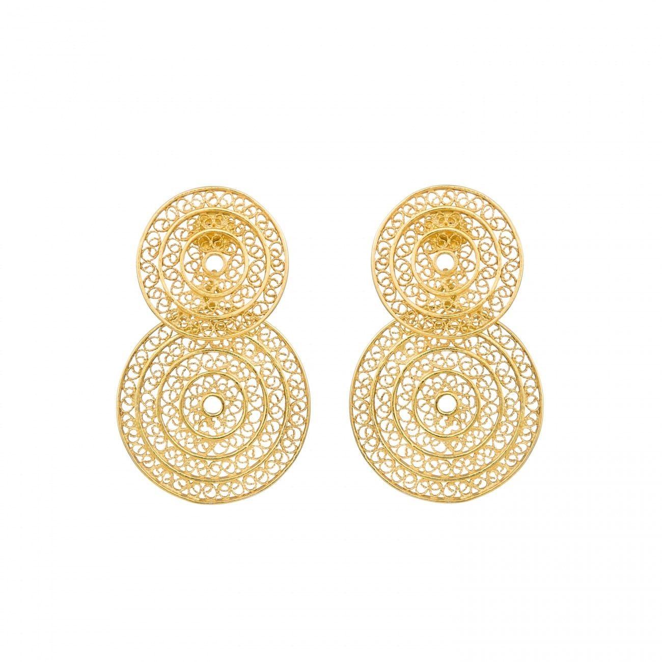 Brincos Dois Círculos em Prata Dourada