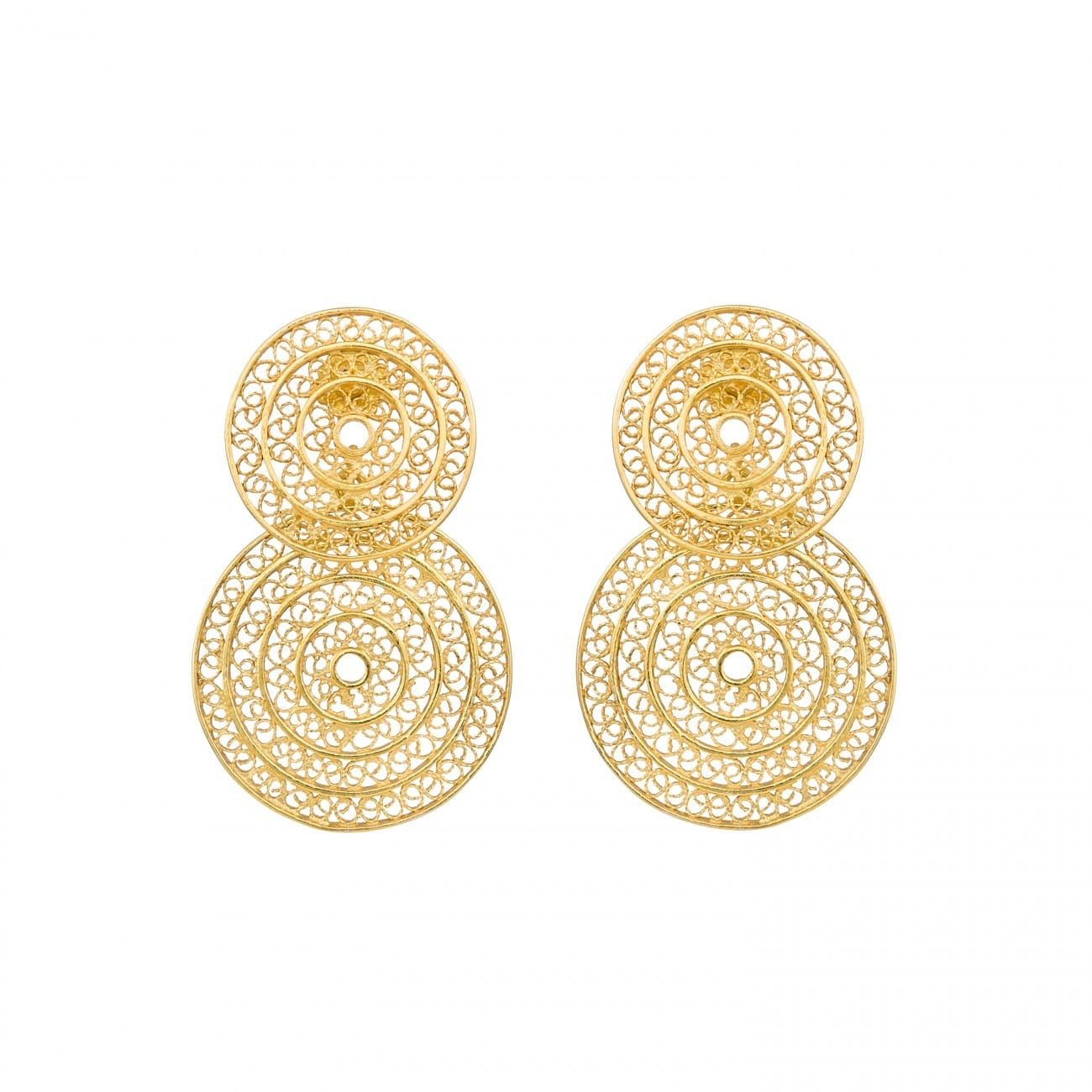 Earrings Two Circles 4,2 cm in Gold Plated Silver