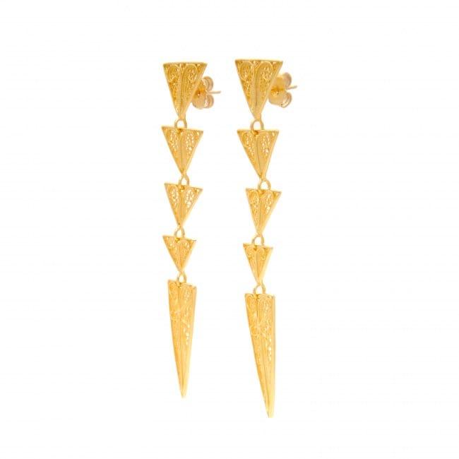 Brincos Triângulos em Prata Dourada