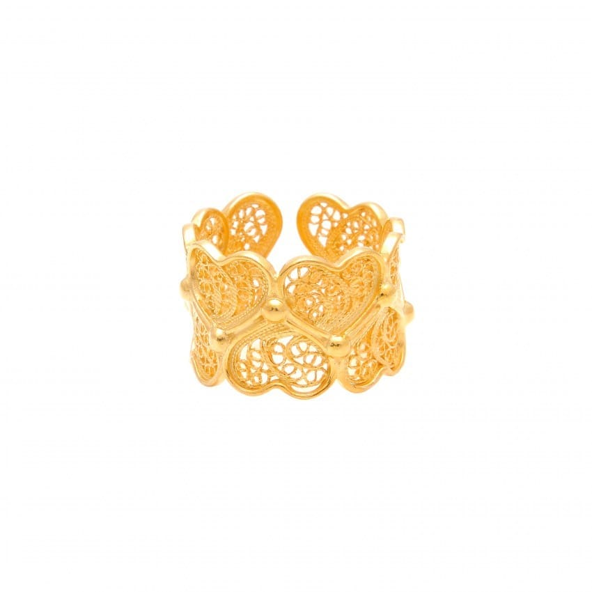 Anel Corações em Prata Dourada