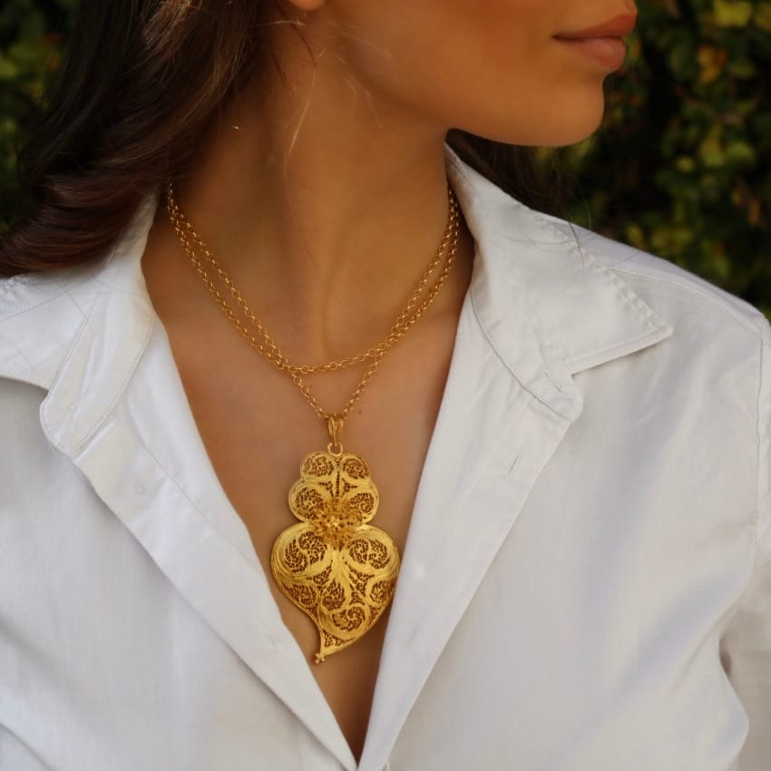 Necklace Heart of Viana 8,5 cm in Gold Plated Silver