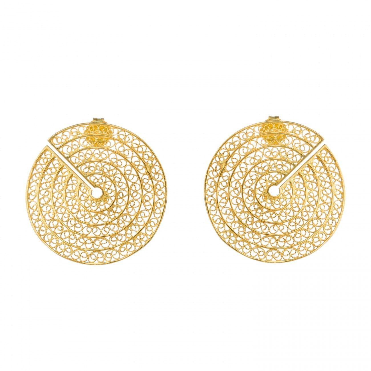 Brincos Círculos Cortados em Prata Dourada