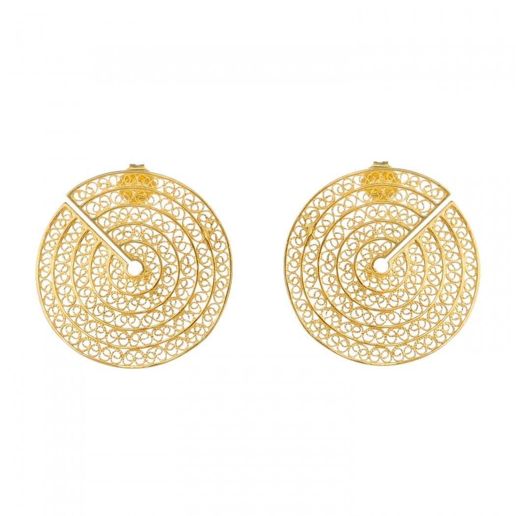 Earrings Cut Circles in Gold Plated Silver