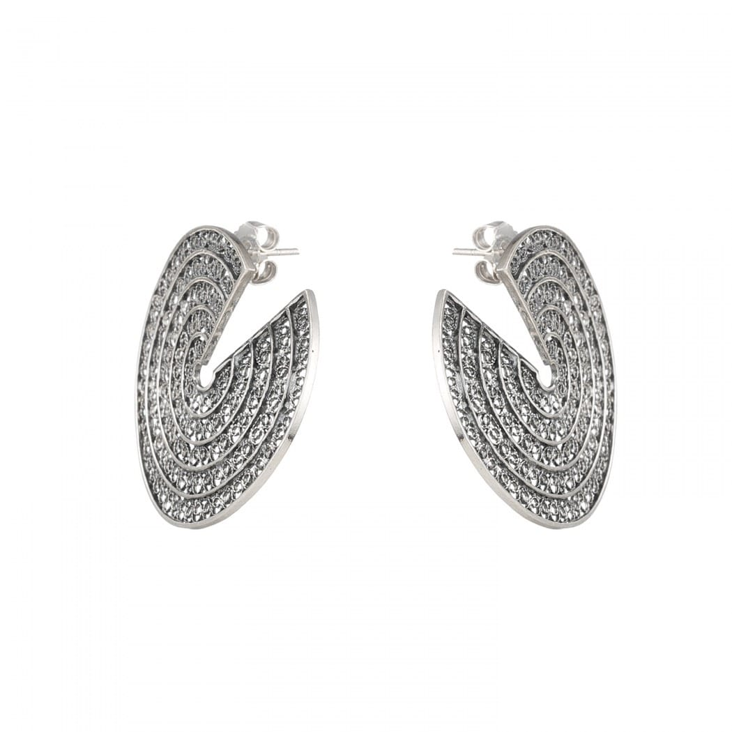 Earrings Cut Circles in Silver