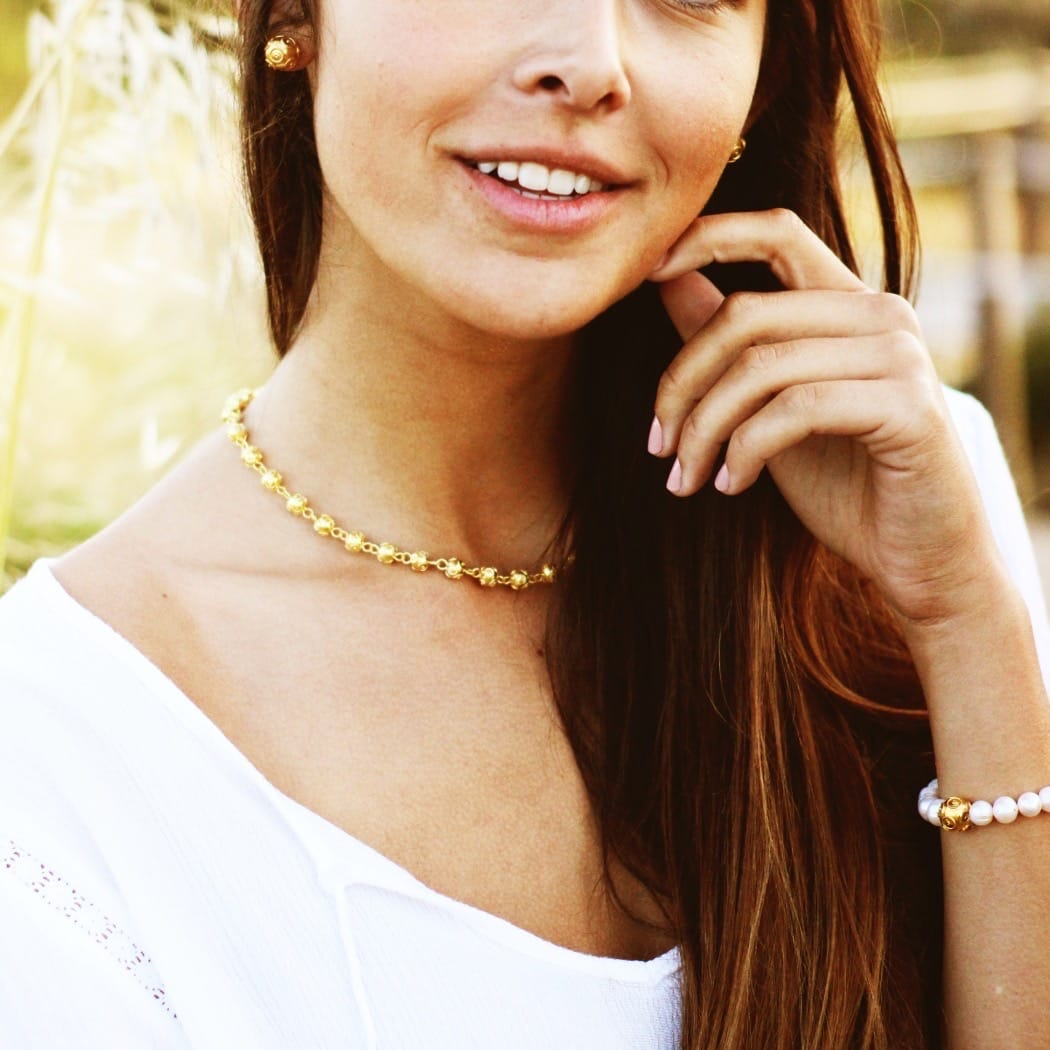 Necklace Viana's Contas in Gold Plated Silver