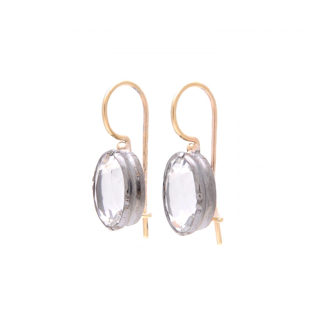 Brincos Cristal de Rocha em Prata e Ouro