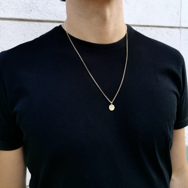 Necklace Escudo Long in Gold Plated Silver