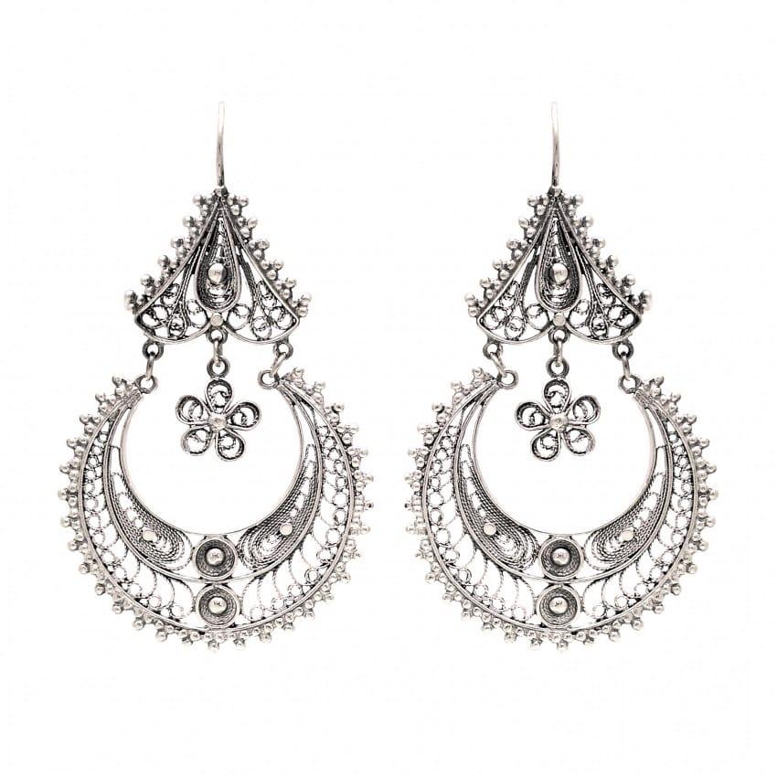Earrings Arrecadas Flower in Gold Plated Silver