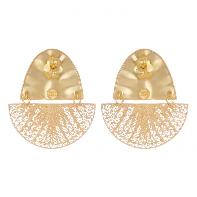 Earrings Boat Articulated XL in Gold Plated Silver