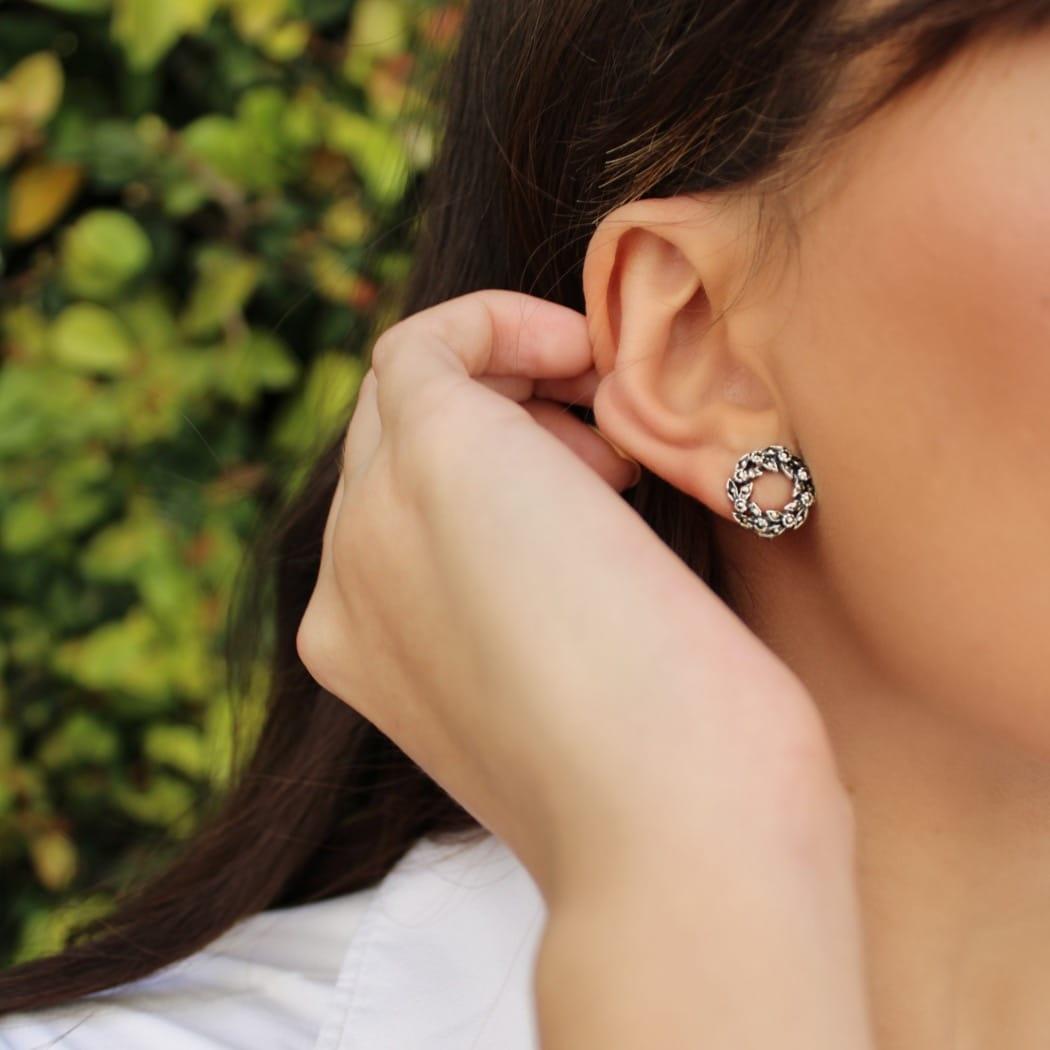 Earrings Crown of Marcasites in Silver