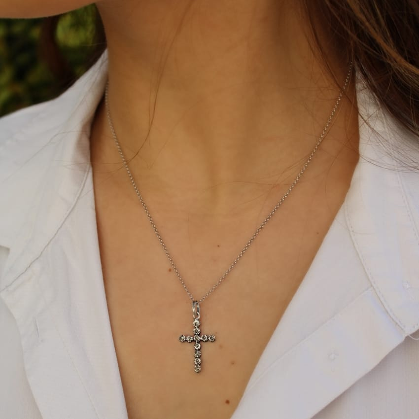 Necklace Cross S with Marcasites in Silver