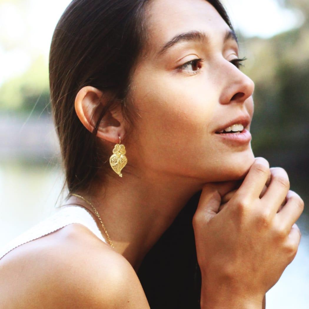 Earrings Heart Viana in 9Kt Gold
