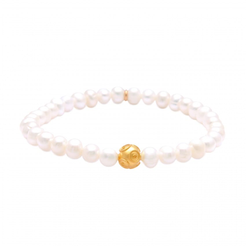Bracelet Conta in 9Kt Gold and Pearls