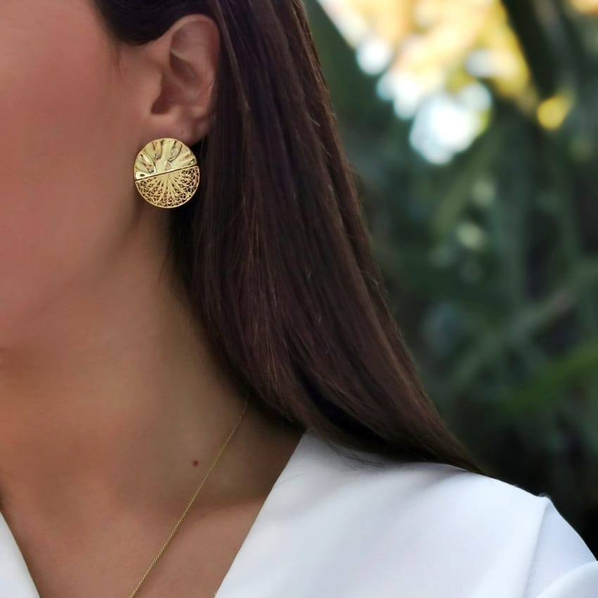 Earrings Circles Articulated in Gold Plated Silver