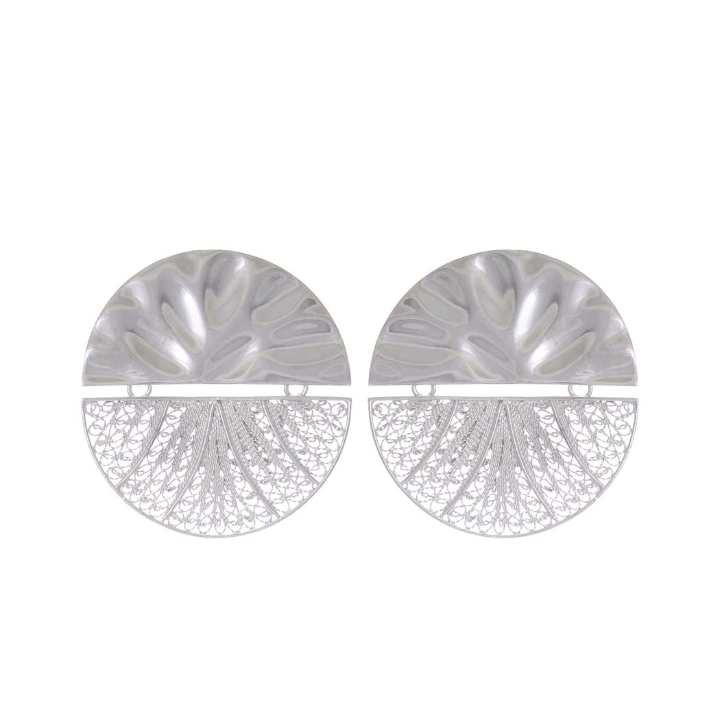 Earrings Circles Articulated XL in Silver