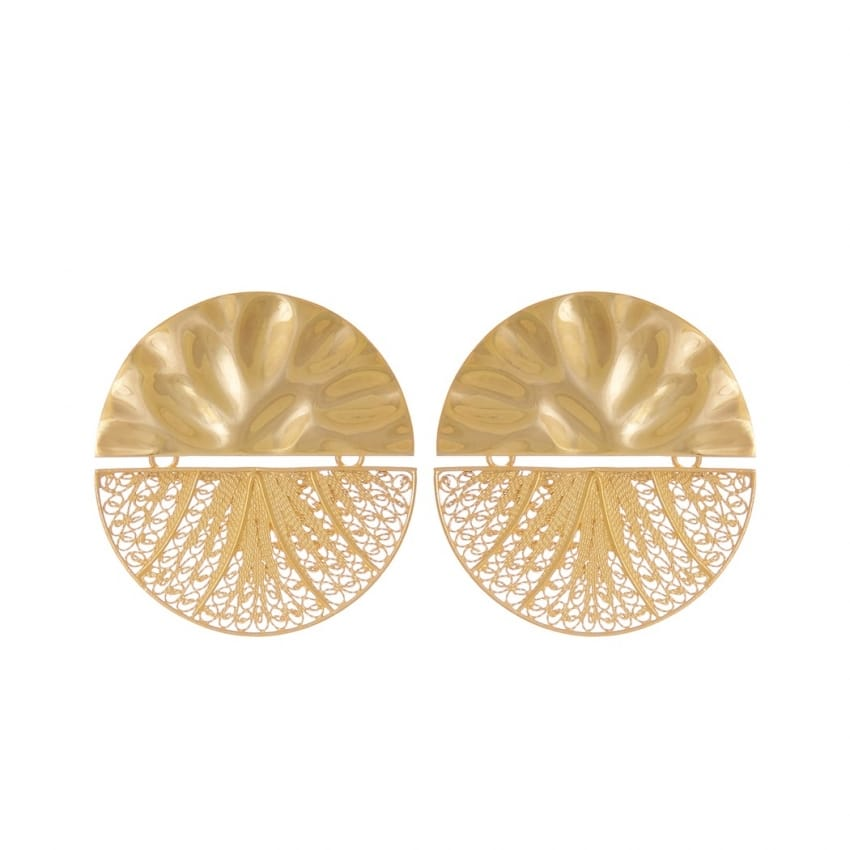 Earrings Circles Articulated XL in Gold Plated Silver
