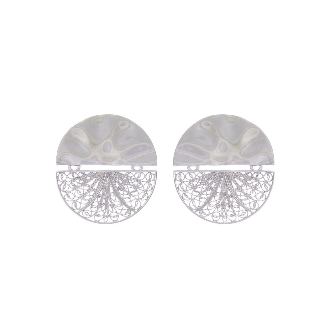 Earrings Circles Articulated in Silver
