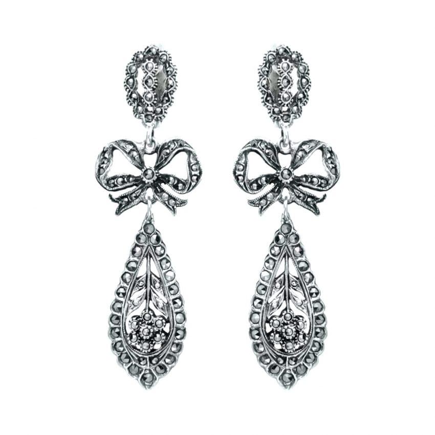 King Earrings of Marcasites in Silver