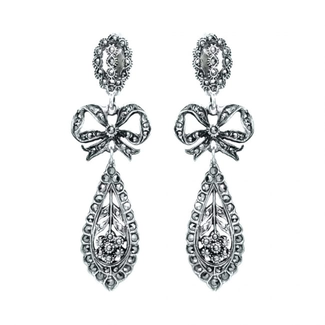 King Earrings Marcasites in Silver