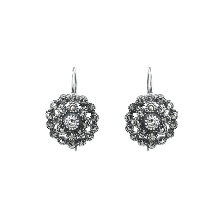 Earrings Pinecone of Marcasites in Silver