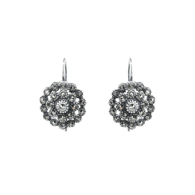 Earrings Pinecone Marcasites in Silver