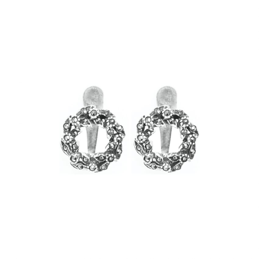 Earrings Crown Marcasites in Silver