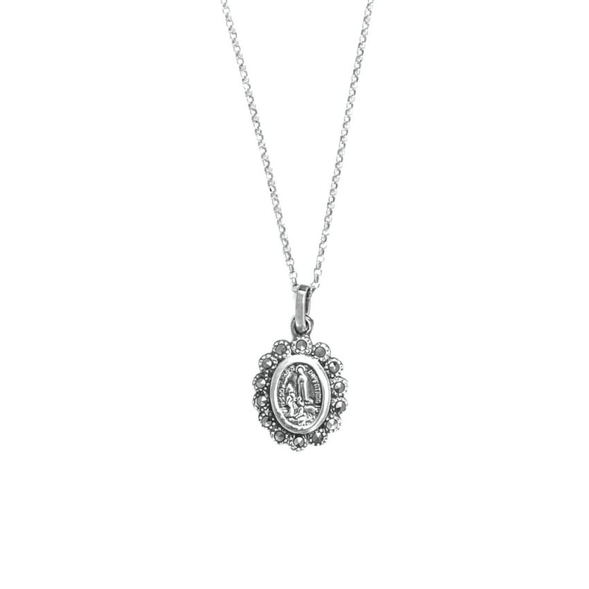 Necklace Our Lady of Fátima with Marcasites in Silver